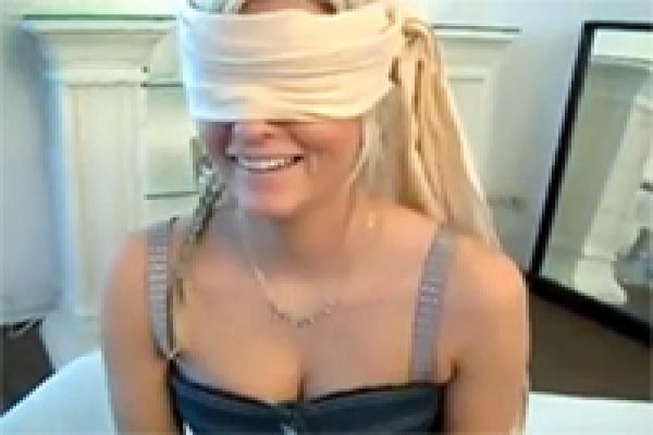 Homemade blindfolded wife tricked blowjob