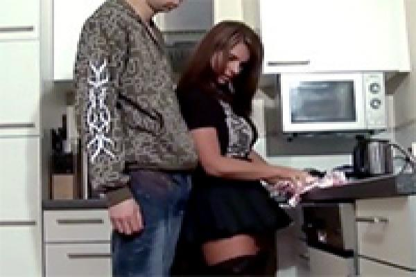 French maid gets fucked in kitchen